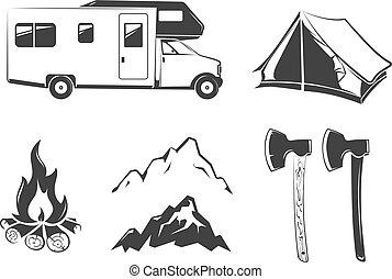 vector, communie, voor, zomer kamp, buitenshuis, ouderwetse , etiketten, emblems, logos, kentekens