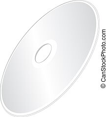 A Shiny Silver Blank CD or DVD Compact Disc on White Background