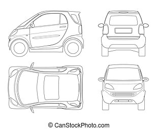 Vector compact small car in outline. Small Compact Hybrid...