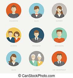 Vector company avatars flat icon style illustration