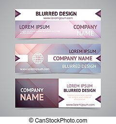 Vector company banners with blurred backgrounds. Identity...