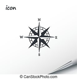 Vector compass icon on a wrapped silver sheet