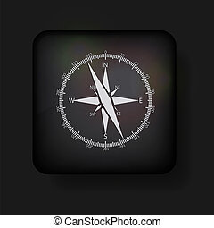 vector compass icon on black. Eps10