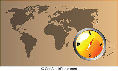 Vector compass with map of the world