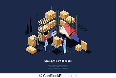 Vector Composition Of Male And Female Characters Weighting Goods In Cardboard Boxes With Big Scales. 3D Isometric Illustration In Modern Cartoon Style With Writing, Keep Of Products And Infographics