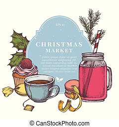 Vector composition with colored candies, macaron, cupcakes, rowan, holly, spruce, lemons, jars, tea cup