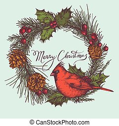 Vector composition with colored cardinal, cones, holly,...