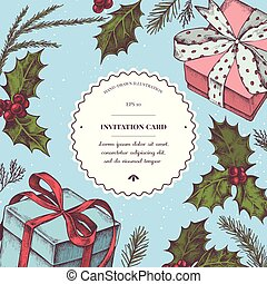 Vector composition with colored gift boxes, holly, pine...