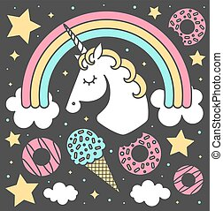 Vector composition with unicorn and rainbow on black background. Cartoon style cute character