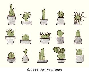 Vector compositon of doodle cactus design set.