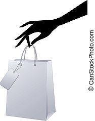 vector, compras, bolsa, mano