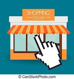 vector, compras, diseño, illustration.