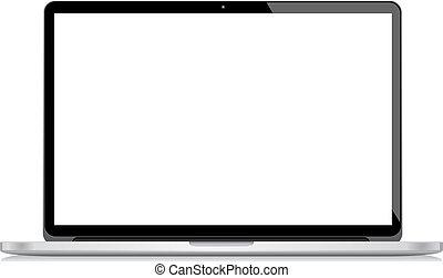 vector, computador portatil, aislado, blanco, bac