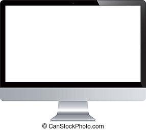 vector, computadora, exhibición, aislado, blanco, plano de fondo