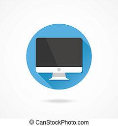 vector, computadora, exhibición, icono