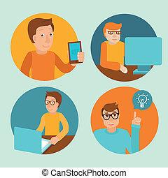 vector, computadoras, caracteres, trabajando