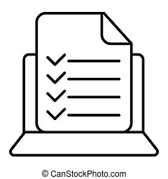 Vector computer and checklist icon. Online survey, application form with check marks, tasks list. Modern sign, linear pictogram, outline symbol, simple thin line icon