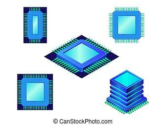 Computer chip or processor Icon set.