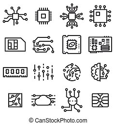 Vector Computer Chips icons set