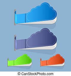 Vector computer cloud label on blue background. 4 colors. Eps10