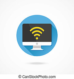 Vector Computer Display Wifi Icon