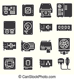 Vector Computer Hardware Icons. PC Components set