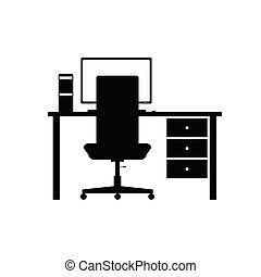 vector, computer, kantoor, desktop