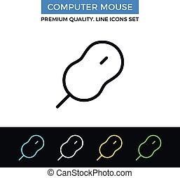 Vector computer mouse icon. Thin line icon