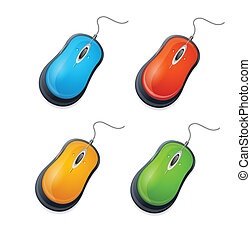 Vector computer mouse set isolated on white