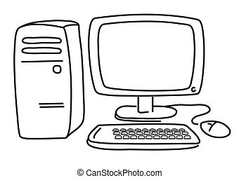 Vector computer on white - Graphic image