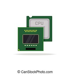 Vector computer processor, desktop and laptop CPU icon