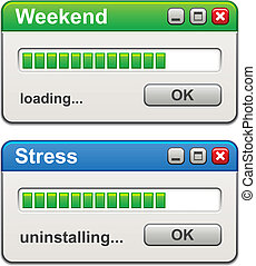 vector, computer, vensters, weekend, inlading, stress,...