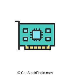 Vector computer video card flat color line icon.