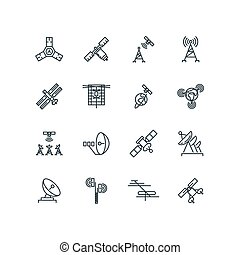 vector, comunicación, satélite, órbita, línea, iconos