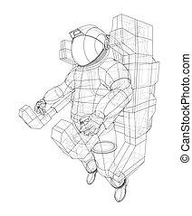 vector, concept., 3d, astronauta, interpretación