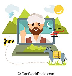 Vector Concept Afghanistan. Flat style colorful Cartoon illustration.