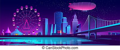 Vector concept background with night city
