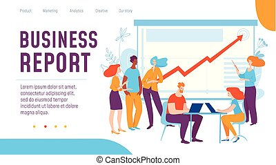 Vector concept business report creative business illustration with working people.