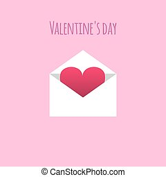 Vector concept card with open envelope and heart.
