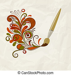 vector concept cartoon brush painting floral design element on crumpled paper texture,  eps 10, mesh