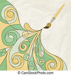 vector concept cartoon brush painting abstract background on crumpled paper texture eps 10, mesh