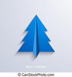 vector concept christmas tree and origami airplane
