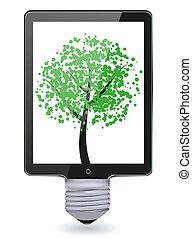Vector concept computer tablet with bulb light.Creative Idea