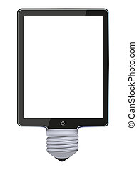 Vector concept computer tablet with bulb light. Idea
