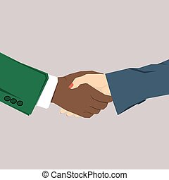 Handshake business woman with a male
