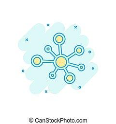 vector, concept, dna, netwerk, zakelijk, effect., witte , molecule, vrijstaand, illustratie, meldingsbord, achtergrond., verbinding, gespetter, hub, atoom, komisch, style., spotprent, pictogram