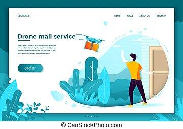 Vector concept drone mail service, man wait parcel