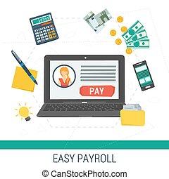 Vector concept easy online payroll operation. Laptop with...