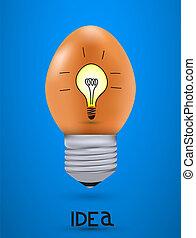 Vector concept egg with light bulb. Eps10