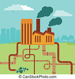 Vector concept - factory building and landscape - air and...